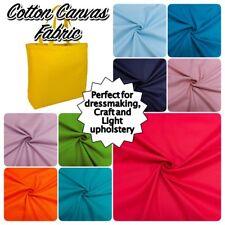 "100% COTTON CANVAS Plain Colour Medium Weight Dressmaking Craft Fabric 60"" Wide"