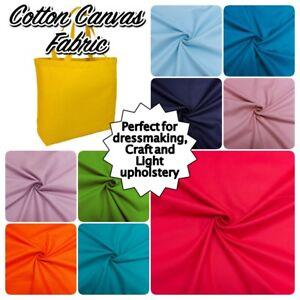 "100% COTTON CANVAS Plain Colour Medium Weight Dressmaking Craft Fabric 58"" Wide"