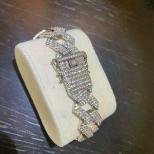 Mens Silver Cuban Bracelet CZ Fully Iced Out Trapstar Hiphop Bling Belcher
