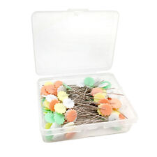 Colorful Plum Blossom Head Steel Straight Push Pins with Plastic Box Pack 100