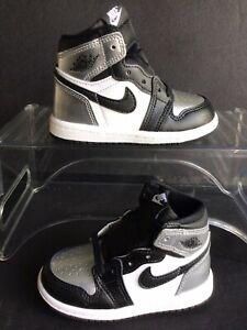 Nike Jordan 1 High OG (TD)'Silver Toe' Black-Metallic Silver Sz.8c (CU0450-001)