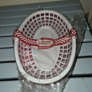 New Matalan Dine With Friends Red and White Serving Baskets American Diner Style