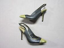 FOREVER 21 WOMENS BLACK FAKE LEATHER W/ GOLD TOES HIGH HEELS SHOES SIZE 7 USED