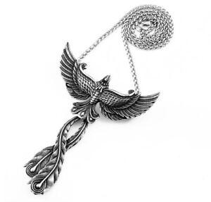 Phoenix Firebird Bird Pendant Necklace Talisman Amulet Stainless Steel Gift