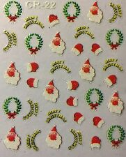 Nail Art 3D Stickers Glitter Decals Merry Christmas Santa Wreath Mittens CR22