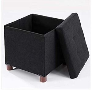 """15"""" Classics Folding Ottoman with Storage, Walnut Wooden Leg footrest Bench for"""
