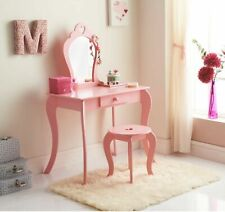 Amelia Vanity Set / Dressing Table With Mirror & Stool Children Kids Wooden Pink