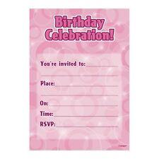 16 Pink Sparkle Happy Birthday Party Invitations Invites Plus Envelopes
