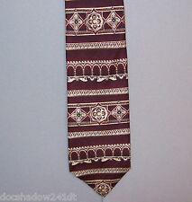 Graham & Lockwood Burgundy Column Design Silk Neck Tie made in USA #454