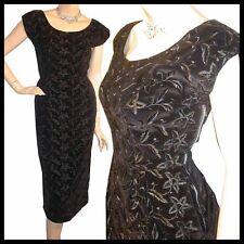 Vtg 50s WIGGLE Embroidery BOMBSHELL Black Dress S 34B