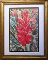 Red Ginger Flower Tropical Floral Plant Original Oil Painting Framed Fine Art
