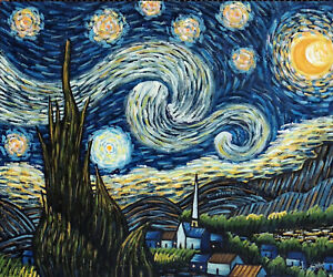 Starry Night Van Gogh Famous Repro Moonlit Town Church Oil Painting   STRETCHED