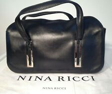 Nina Ricci Black Leather Handbag With Dust Bag & Certificate Of Authenticity
