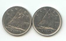 Canada 1980 1981 Dime Canadian 10 Cent Piece 10c Ten Cents Dimes Exact Set