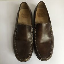 ECCO Men Shoes 9-9.5 US 40 Euro Brown Leather Loafers White Stitching MSRP $129