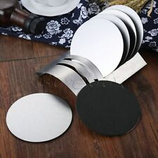 6pcs Round Stainless Steel Coasters Drink Wine Glass Mug Beer Table with Holder