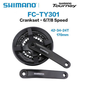 SHIMANO FC-TY301 6/7/8 Speed MTB Bike Square Crankset 170mm 42-34-24T TY501