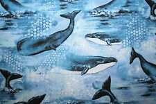 """""""FOLLOW THE LIGHT-WHALES"""" WHALE & LIGHTHOUSE FABRIC COLLECTION"""