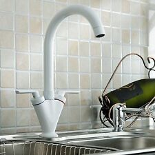 White Kitchen Basin Sink Mixer Faucet Tap Solid Brass Gooseneck 360°Swivel Spout