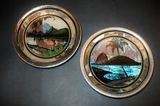 Vintage Art Deco Reverse Painted Convex Glass Butterfly Wing Silhouettes
