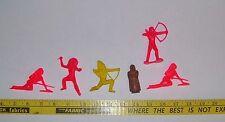 Vintage toy lot Assorted Colors plastic Indians Lot of 6 Pieces