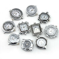 10PCS Mixed Assorted Styles Silver Plated Quartz Watch Faces Findings For DIY