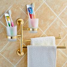 Bathroom Towel Rack Bar Swivel Toothbrush Holder Tumbler Cup Wall Shelf Aluminum