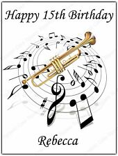 Personalised Trumpet Music Notes Edible Icing Birthday Party Cake Topper