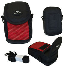 Red / Black Digital Camera Case Bag for Canon IXUS + Powershot + Panasonic Lumix