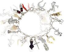 Jugendstil Silber Bettel Armband 16 Anhänger Glücksbringer um 1900