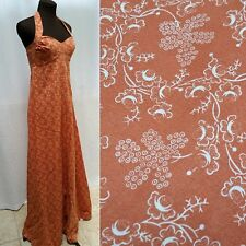 Vintage 70s ORANGE FLORAL PRINTED HALTER MAXI DRESS with Matching SHAWL- Size XS