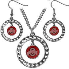 Ohio State Buckeyes Rhinestone Earrings & Necklace Jewelry Set NCAA Licensed