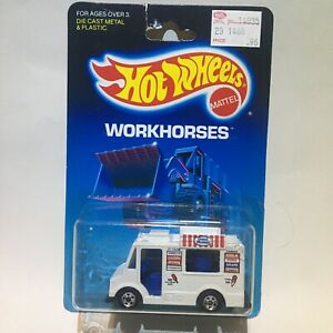 1988 Hot Wheels Workhorses Card White Good Humor Truck Blackwalls Malaysia Base