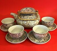 "ASIAN TEA SET TEAPOT 4 CUPS & SAUCERS HAND DECORATED LARGE FLORAL VINTAGE 8""H"
