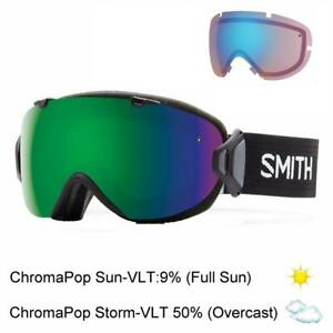 SMITH I/OS Damen Skibrille black/chromapop sun green mirror + storm rose UVP€220