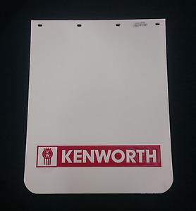 "Kenworth Mudflap - White with Red Logo 24"" x 30"" - LS2430-WRCKW"
