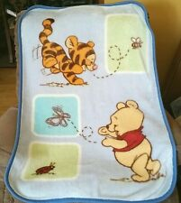Disney Winnie the Pooh and Tigger Blue Plush Velour Throw Lap Blanket Butterfly