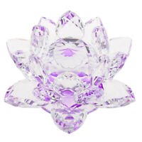 Crystal Lotus Ornament Crafts Paperweight Glass Model Wedding Gift Purple