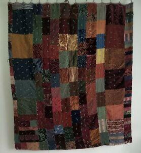 Vintage Handmade Heavy Multi Textured Patchwork Quilt 63 x 71 Full Size