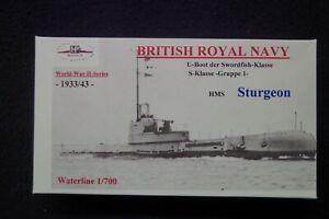 HP Models  Brit. U-Boot der S-Klasse 1. Gr. HMS Sturgeon -1933/43-  1:700 Resin