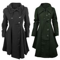 Plus Size Womens Winter Warm Wool Jacket Overcoat Long Trench Coat Parka Outwear