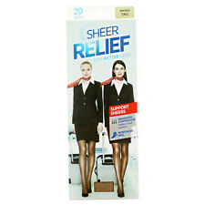 4 x SHEER RELIEF WOMEN'S SUPPORT PANTYHOSE BEIGE TALL STOCKINGS ACTIVE LEGS