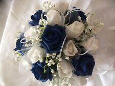 Wedding Flowers Bridesmaids Wedding Posy Bouquet Navy and White Tulle & Sparkles