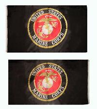 3x5 USMC Marines Marine Corps Black 2 Faced 2-ply Wind Resistant Flag 3x5ft