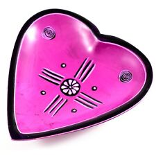 Smolart Hand Carved Soapstone Pink Fuchsia Heart Shaped Soap Dish Trinket Bowl