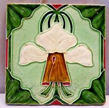 TILE MAJOLICA ENGLAND ART NOUVEAU CERAMIC WHITE FLOWER DESIGN VINTAGE RARE #361