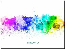 Toronto City Skyline Canada watercolor Abstract Canvas Art Print 90cm X 60cm