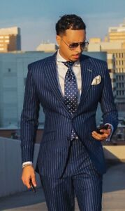 Mens Navy Blue Striped Groom Tuxedos Business Dinner Party Wedding Suit Custom