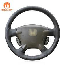 Hand DIY Safe Black Leather Steering Wheel Cover for Honda CRV CR-V 2002-2006