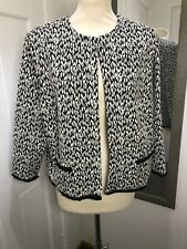 MARKS AND SPENCER Black White Leopard Print Jacket Size 18 Fringe Hem